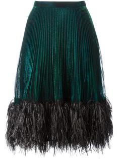 feather trim pleated skirt Marco De Vincenzo