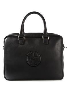 портфель с тиснёным логотипом Giorgio Armani
