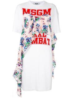 платье-футболка с принтом логотипа MSGM