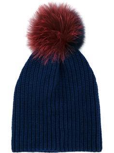 шапка с двухцветным меховым помпоном Inverni