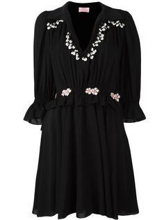 платье с оборками и вышивкой Giamba