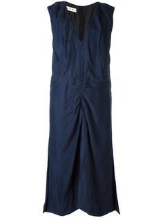 платье с присборенной отделкой и V-образным вырезом Marni
