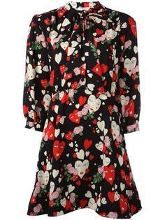 расклешенное платье с принтом сердец Vivetta