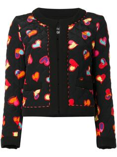 hearts print open jacket Boutique Moschino