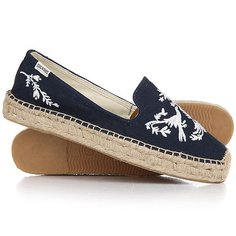 Эспадрильи женские Soludos Platform Smoking Slipper Embr Oidery Navy/White