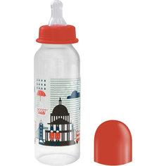 """Бутылочка с соской """"Я люблю"""" от 0 мес., 250 мл., LUBBY, красный"""