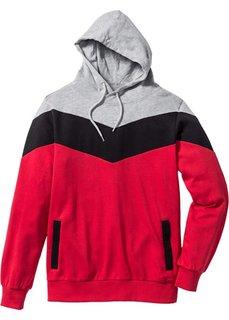 Свитшот Regular Fit с капюшоном (светло-серый меланж/оранжевый/) Bonprix
