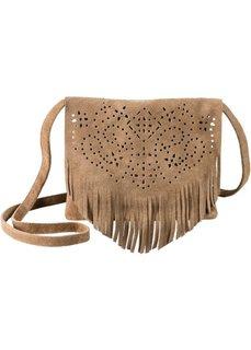 Кожаная сумка с ажурным принтом и бахромой (коричневый) Bonprix