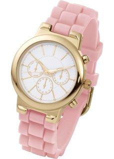 Часы на силиконовом браслете (серо-коричневый/розово-золотис) Bonprix