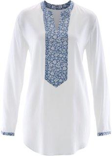 Длинная блузка со вставкой спереди (синий) Bonprix