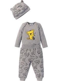 Для малышей: боди с длинным рукавом + трикотажные брюки + шапочка (3 изд.), органический хлопок (натуральный меланж) Bonprix