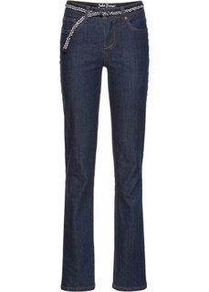 Прямые стрейтчевые джинсы с ремнем, cредний рост (N) (темно-синий) Bonprix