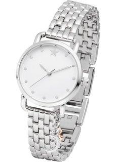 Часы с подвеской биколор и металлическим браслетом (розово-золотистый) Bonprix