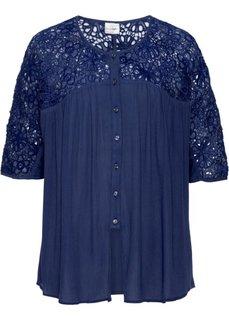 Блузка с кружевной отделкой (цвет белой шерсти) Bonprix