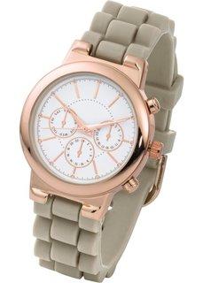Часы на силиконовом браслете (жемчужно-розовый/розово-золоти) Bonprix