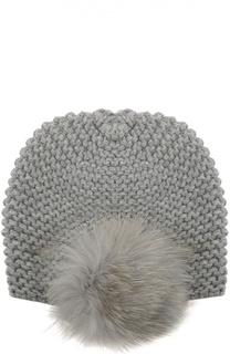 Кашемировая шапка с помпоном из меха песца Inverni