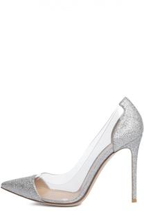 Туфли Plexi с глиттером на шпильке Gianvito Rossi