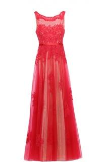 Приталенное кружевное платье в пол с декоративной вышивкой Basix Black Label
