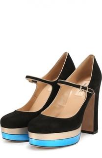 Замшевые туфли Pop Plain на устойчивом каблуке Valentino