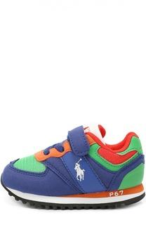 Комбинированные кроссовки с застежкой велькро Polo Ralph Lauren