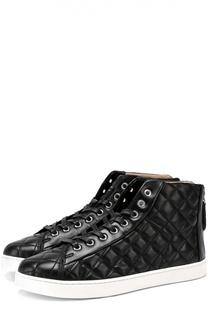 Кожаные стеганые кеды на шнуровке Gianvito Rossi
