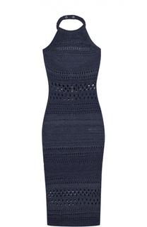 Платье-футляр с открытой спиной и перфорацией Balmain