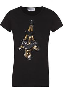 Хлопковая футболка с вышивкой пайетками Sonia Rykiel