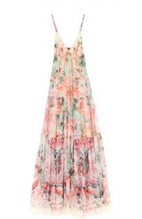 Платье-макси на тонких бретельках с цветочным принтом Roberto Cavalli
