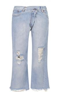 Укороченные расклешенные джинсы с потертостями Mm6