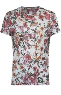 Льняная футболка с цветочным принтом 120% Lino