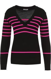 Шерстяной пуловер в контрастную полоску с V-образным вырезом Sonia Rykiel
