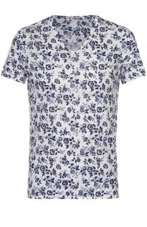 Льняная футболка с V-образным вырезом 120% Lino