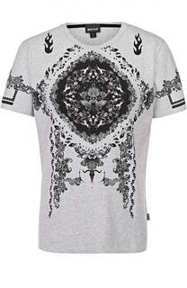 Хлопковая футболка с контрастным принтом Just Cavalli