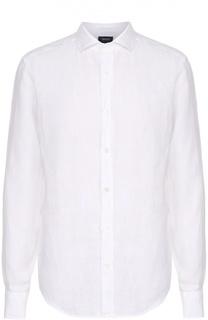 Льняная рубашка с воротником акула Armani Jeans