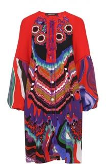 Шелковая туника с ярким принтом и декоративной шнуровкой Roberto Cavalli