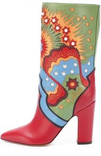 Кожаные сапоги Enchanted Wonderland на устойчивом каблуке Valentino