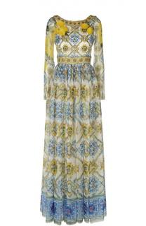 Шелковое платье в пол с принтом и вырезом на спине Dolce & Gabbana