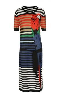 Шелковое платье с круглым вырезом и контрастным принтом Sonia Rykiel