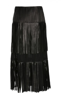 Кожаная юбка-миди с бахромой Sonia Rykiel