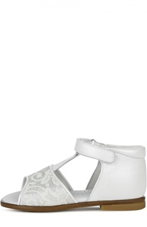 Кожаные сандалии с ажурным декором Clarys