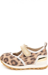 Текстильные кроссовки с принтом и застежкой велькро Roberto Cavalli