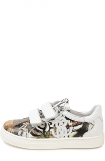 Кожаные кеды с леопардовым принтом Roberto Cavalli