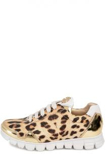 Кожаные кроссовки с леопардовым принтом Roberto Cavalli