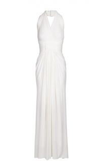 Приталенное платье в пол с открытой спиной Herve L.Leroux