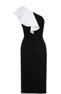 Платье-футляр с открытым плечом и контрастной оборкой Saint Laurent