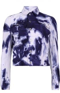 Джинсовая укороченная куртка с принтом Dsquared2