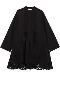 Хлопковое мини-платье с завышенной талией и кружевной отделкой Chloé