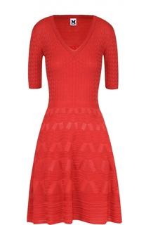Приталенное мини-платье фактурной вязки с V-образным вырезом M Missoni