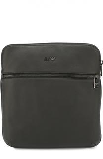 Кожаная сумка-планшет с внешним карманом на молнии Armani Jeans
