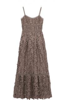 Кружевное платье-макси на тонких бретельках Elie Tahari
